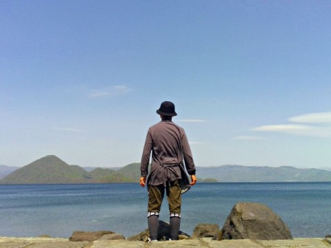洞爺湖中島を眺める私